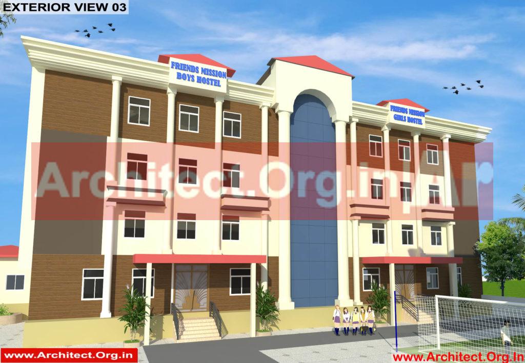 School and Hostel Design -3D Exterior view 03- Uttar Dinajpur West Bengal - Mr.Abdullah Sabir