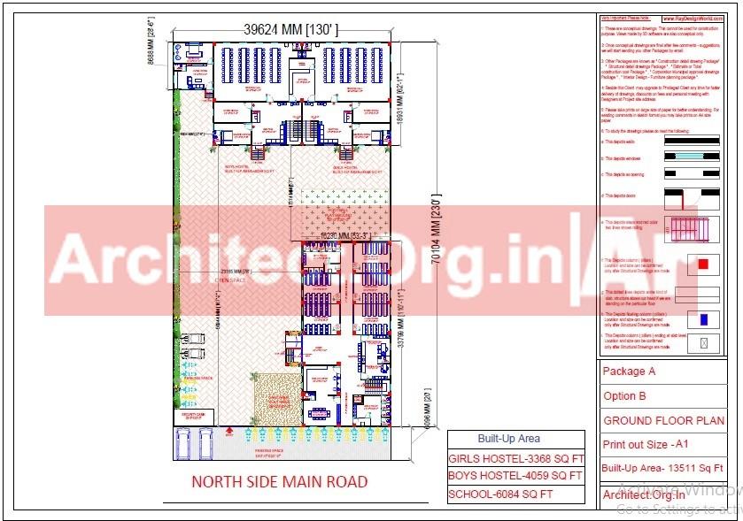 School and Hostel Design -Ground Floor Plan- Uttar Dinajpur West Bengal - Mr.Abdullah Sabir