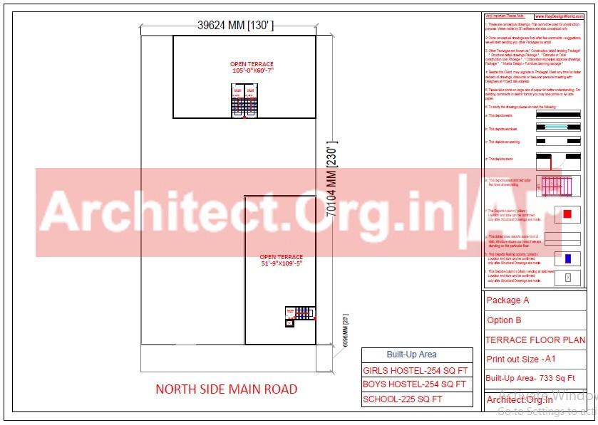 School and Hostel Design -Terrace Floor Plan- Uttar Dinajpur West Bengal - Mr.Abdullah Sabir