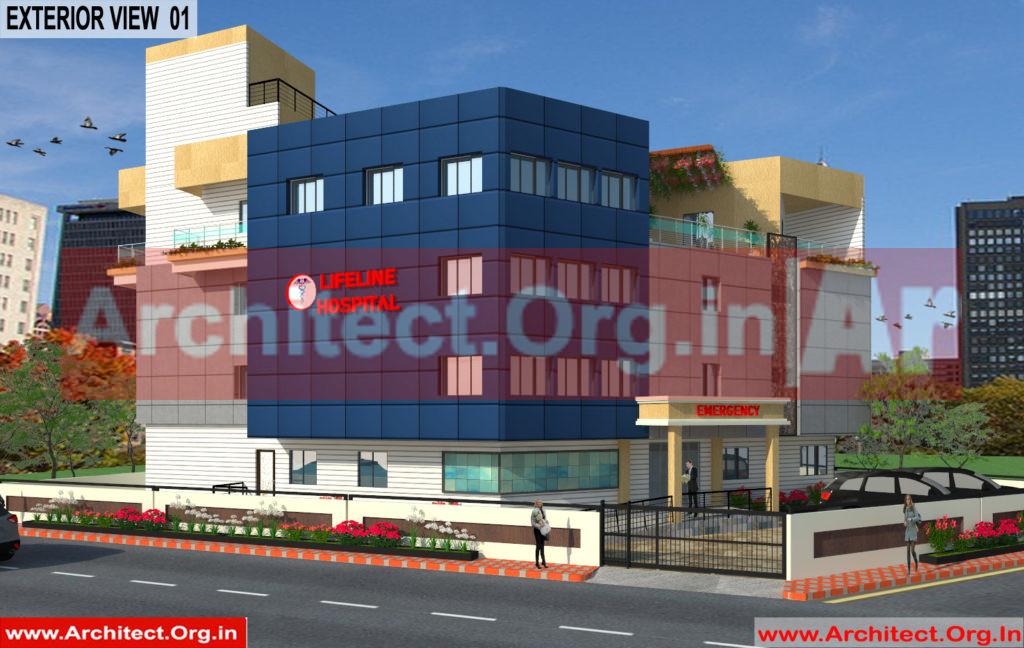 Hospital Design - 3D Exterior View 01 - Bhilwara Rajasthan - Dr.Ashish Ajmera