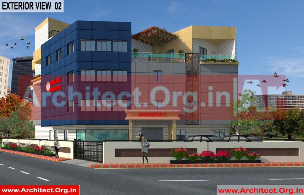 Hospital Design - 3D Exterior View 02 - Bhilwara Rajasthan - Dr.Ashish Ajmera