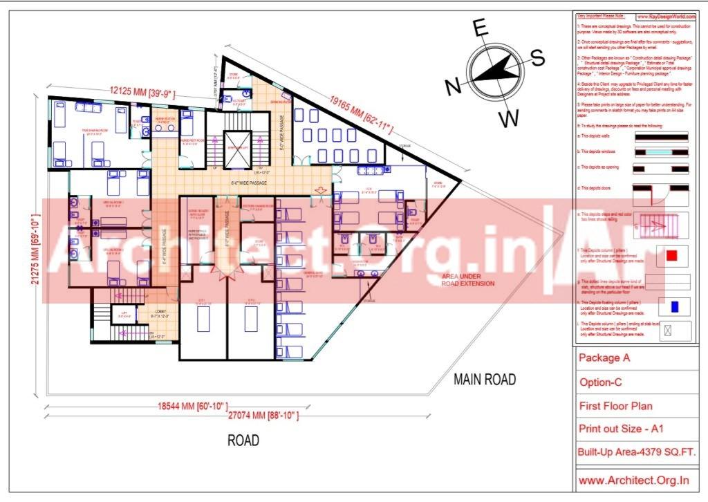 Hospital Design - First Floor Plan - Bhilwara Rajasthan - Dr.Ashish Ajmera