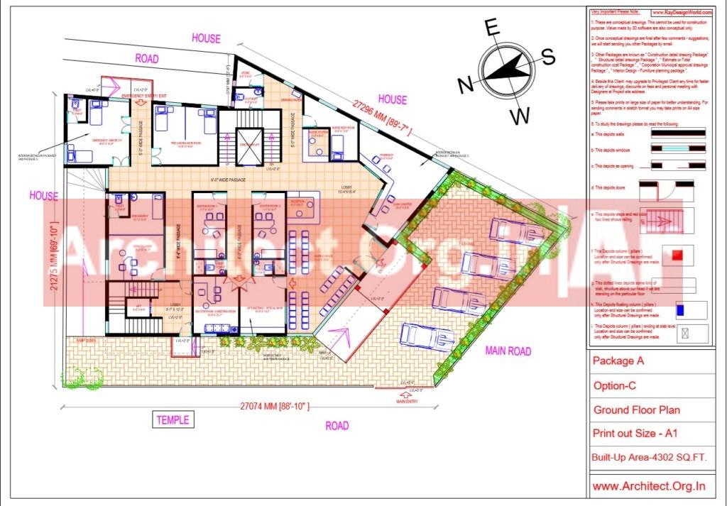 Hospital Design - Ground Floor Plan - Bhilwara Rajasthan - Dr.Ashish Ajmera