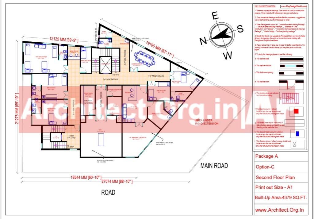 Hospital Design - Second Floor Plan - Bhilwara Rajasthan - Dr.Ashish Ajmera