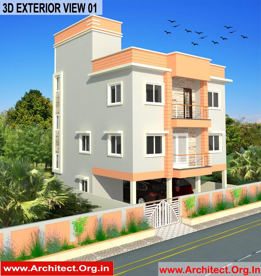 Bungalow Design -Exterior View 01 - Tambaram Chennai Tamilnadu -  Mr.Vinoth S. Nagarajan