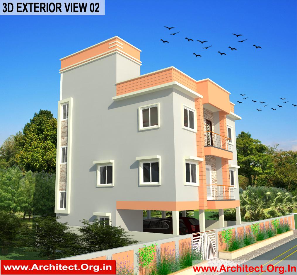 Bungalow Design -Exterior View 02 - Tambaram Chennai Tamilnadu -  Mr.Vinoth S. Nagarajan