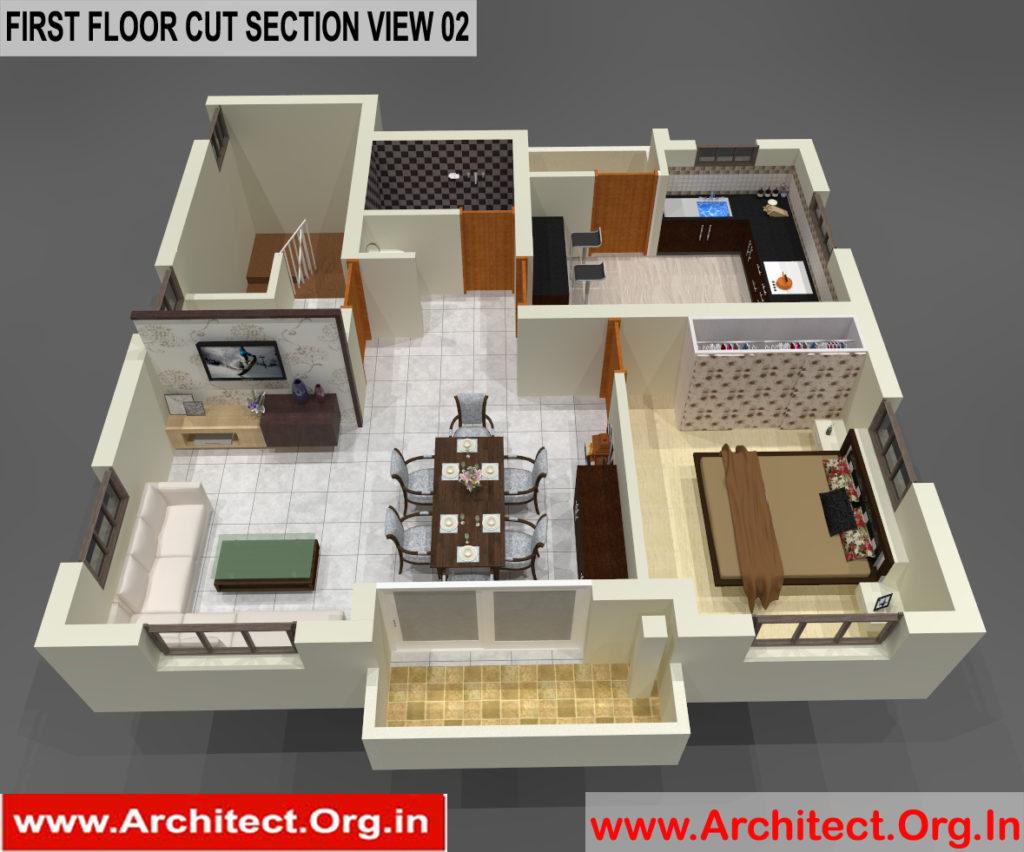Bungalow Design -3D Cut Section - Tambaram Chennai Tamilnadu -  Mr.Vinoth S. Nagarajan
