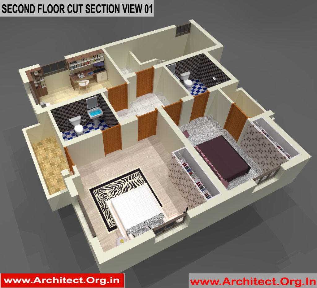 Bungalow Design -3D Cut Section - Tambaram Chennai Tamilnadu -  Mr.Vinoth S. Nagarajan