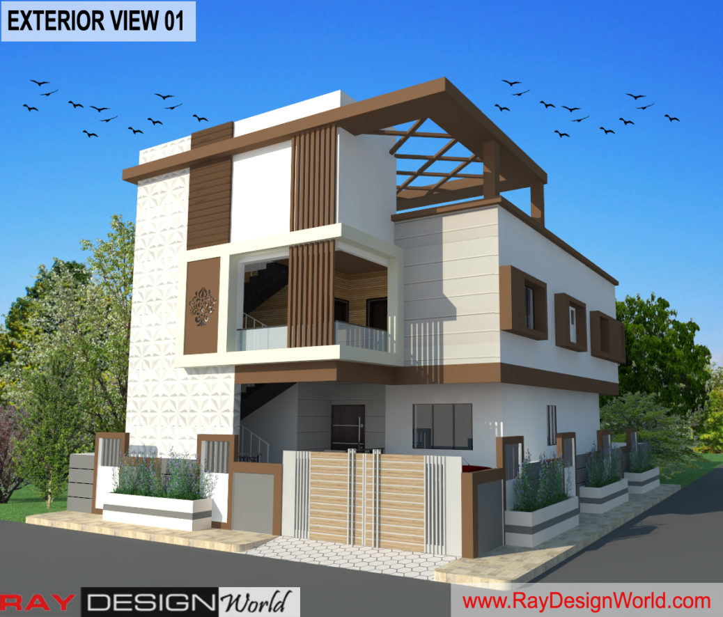 Bungalow Design - 3D Exterior view 01