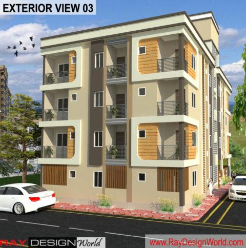 Apartment Design -3D Exterior View 03 – Guna Madhya Pradesh – Mr. Arvind Goyal