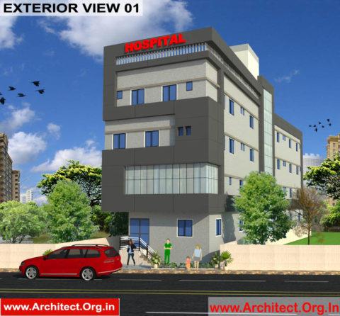 Hospital Exterior Design view 01- Begusarai Bihar - Dr.Shambhu Kumar