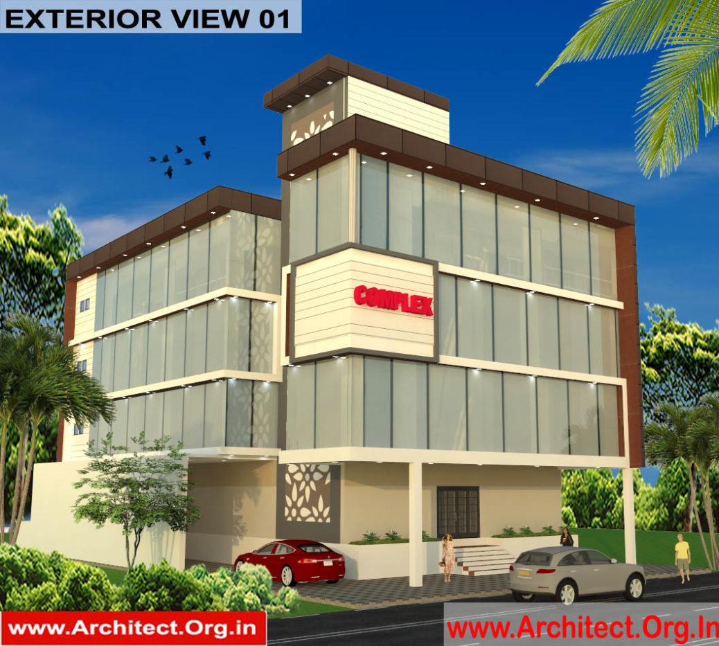 Commercial complex 3D Exterior view 01 - Ayodhya Uttarpradesh - Mr.Sahil Singh